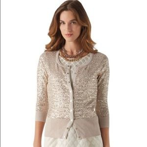WHBM Metallic Sequin Cardigan Sweater